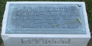 William Elliott Tombstone, 42nd Indiana Infantry